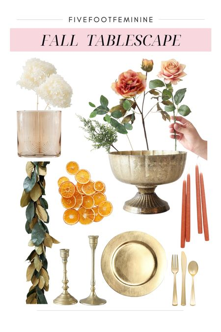 HOW TO CREATE A FALL TABLESCAPE  - Layout garland to center your table - Add your favorite dishware   - Make florals your centerpiece  - Set the mood with some candles   All the dried & artificial florals I'm using here are from, Afloral, my favorite place to shop for seasonal florals and decor |AD|   For reference, I'm using the following quantities:  - 2 Magnolia Garlands - 6 Dried White Hydrangeas - 5 Peonies - 3 Mauve Roses - 3 Juniper Sprays - 3 Eucalyptus  - 1 Bag Orange Slices - 1 Gold Metal Bowl - 2 Ribbed Glass Vases - 4 Candle Sticks - 4 Candles  Tags: fall decor, fall home decor, fall florals, fall tablescape, thanksgiving tablescape, thanksgiving decor   #LTKSeasonal #LTKhome