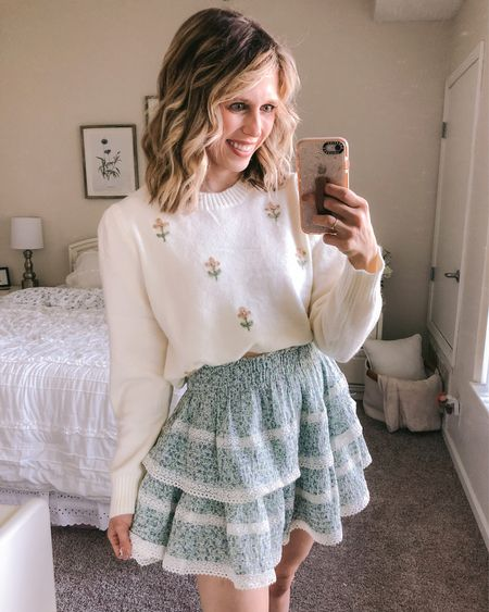 Frills & florals are a year 'round thing here 🌸🍂 How cutie is this @chicwish sweater? It is SO soft too! Loving all of the embroidered details I'm seeing this fall. What is a trend you're excited about? . . .  #LTKunder50 #LTKSeasonal #LTKbacktoschool