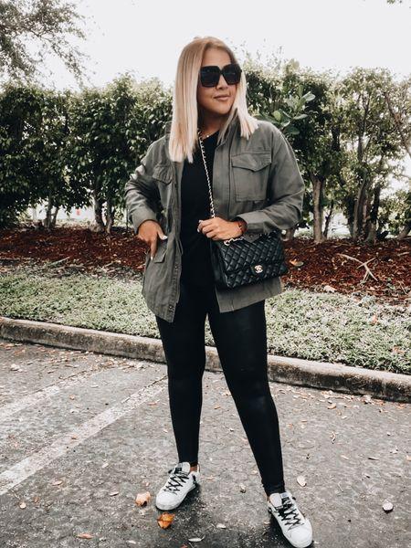 Utility jacket, Spanx leggings, black tee, golden goose sneakers, Chanel bag… fall faves   #LTKitbag #LTKSeasonal #LTKshoecrush