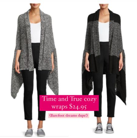 Time and Tru brand cozy wraps! Dupe for the Barefoot dreams cardigan and only $25!! Comes in tons of colors and super soft!  Walmart finds // barefoot dreams dupe // walmart style // walmart cardigan  #LTKunder50 #LTKunder100 #LTKsalealert