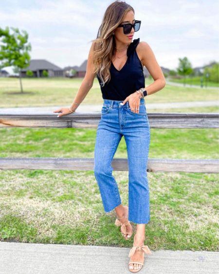 Cropped jeans in 00s or 00p on sale tie top in Xs on sale bow heels on sale tts #liketkit @liketoknow.it http://liketk.it/3hm0R #LTKDay #LTKsalealert #LTKunder100