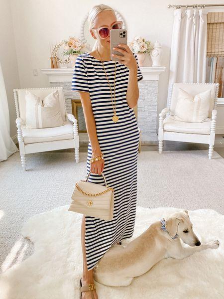 Casual maxi dress. Stripes. Dudley Stevens. Tory Burch. Ivory bag. Gold hardware. Julie Vos gold pendant.   #LTKunder100 #LTKworkwear #LTKSeasonal