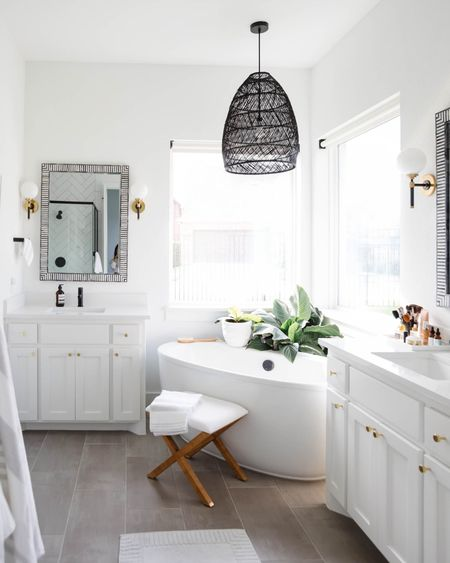 Bathroom makeover with decor from Serena & lily, including this black weave pendant, bath mat, bath runner, bone in-lay mirrors, sconces, x stool and more.  #LTKstyletip #LTKhome