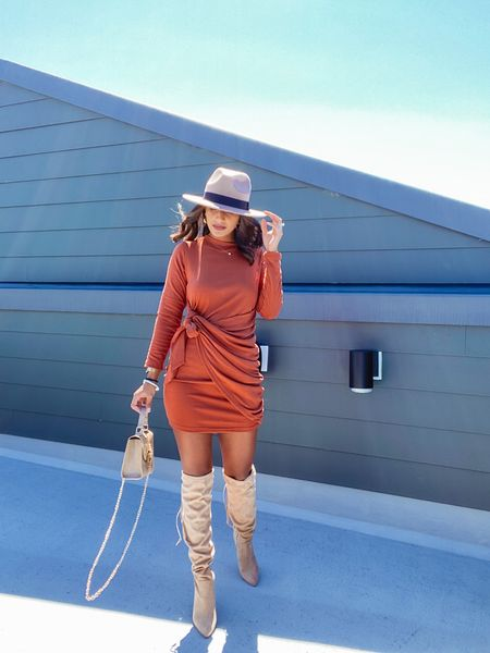 my favorite fall dress! super cute with the front tie, but incredibly comfortable - material is amazing and thick and warm for the fall!   #amazonfashion #amazonfinds #fallfashion #otkboots #dress #fedora   #LTKSeasonal #LTKstyletip #LTKshoecrush