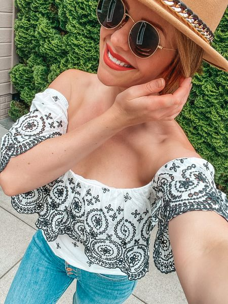 Off-the-shoulder lace top- yes please! Can't get over how cute this top is! http://liketk.it/3gmho #liketkit @liketoknow.it #LTKbeauty #LTKshoecrush You can instantly shop my looks by following me on the LIKEtoKNOW.it shopping app