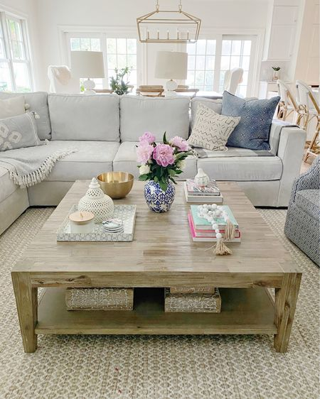 Coffee table decor, decorative tray, ginger jar, coffee table styling, large square coffee table, area rug, coffee table books  http://liketk.it/3f3SF #liketkit @liketoknow.it @liketoknow.it.home #LTKhome