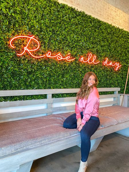 A pink silk blouse, comfy jeans, and booties make for the perfect brunch fit! #LTKSpringSale #LTKunder100 #LTKstyletip #liketkit @liketoknow.it http://liketk.it/3aZ2M