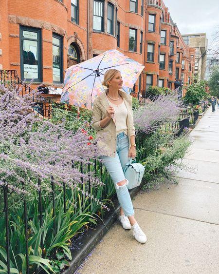 Rain jacket, vintage denim, knit tank top, floral umbrella http://liketk.it/3jtco #liketkit @liketoknow.it