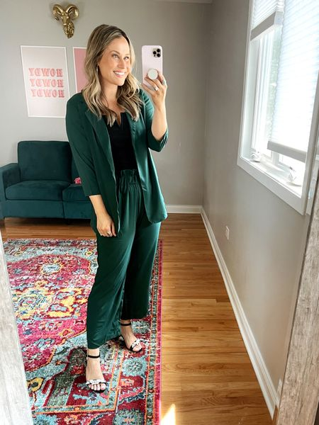 business casual Amazon fashion finds: this set is everything! its so cute and comfy! this black top is one of my favorite amazon finds! also linked these black heels, another amazon fashion find.   #LTKworkwear #LTKshoecrush #LTKunder50