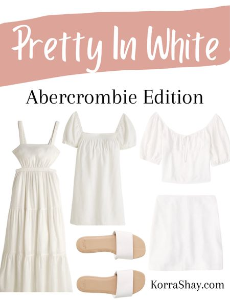 Pretty in white: Abercrombie edition!   🤍🤍🤍🤍🤍  Abercrombie, Abercrombie style, Abercrombie finds, white dress, white mini dress, white maxi dress, white two piece set, white sandals, bridal outfits, bridal shower dress, bridal shower look, rehearsal dinner dress, bridal shoes, summer dresses   #LTKstyletip #LTKunder100 #LTKSeasonal