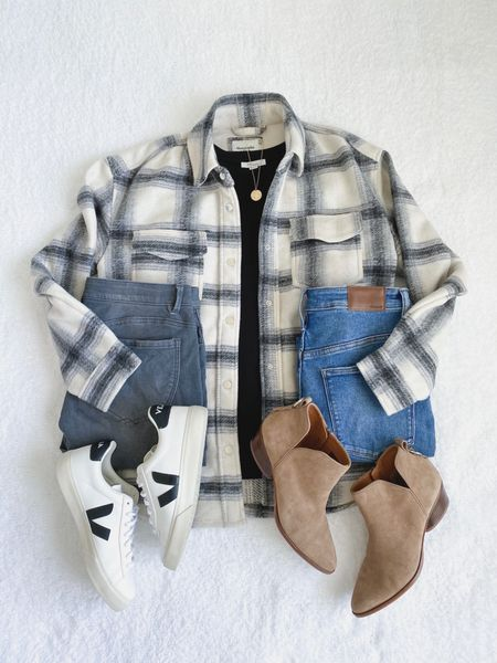 Shirt jacket outfits 🤍🍁 Which jeans and shoes would you wear?  Shop this post on the@shop.ltkapp and follow @classyyettrendy on the app! Everything is also linked here ➡️ https://classyyettrendy.com/instagram-shop/  #capsulewardrobe#smartcasual#whatiamwearing#effortlessstyle#effortlesschic#dailyoutfit#outfitstyle#mystyle#minimaliststyle#elegantstyle#mystylediary#outfitinspirations#dailyfashion#realoutfitgram#wiwtoday#howtostyle#howtowear#simplestyle#simplelook#neutralstyle#neutralaboutit#classicoutfit #classicstyle  #flatlay #falloutfits #shacket