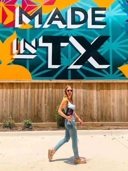 Ripped distressed high waisted mom jeans +  Snap Button Ribbed Knit Crop in light blue / grey with gold platform flat sandals + tagging my go-to bracelet stack   #LTKSeasonal #LTKtravel #LTKunder50