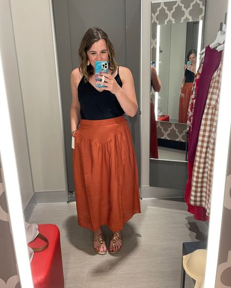 So happy the fitting rooms at Target are open again to try on clothes (and bras)! I was looking for a new skirt and this one is just perfect! Pockets. A great length and color for me. In store they didn't have my size (this is a size larger than I wear), so I just ordered it online.   I own a cami very similar to this and one in leopard too! Linked the Target one and the ones I own. http://liketk.it/3hmIA #liketkit @liketoknow.it #LTKunder50 #LTKcurves #LTKstyletip