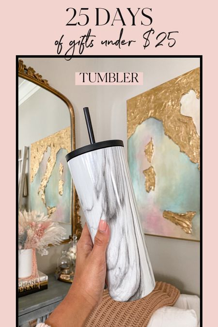 Gifts under $25! This tumbler is the perfect gift for him or her & comes in many different styles and colors!   #giftsforher #giftsforhim #giftsunder25 #whiteelephantgifts #marbletumbler #tumbler #insulatedcup   #LTKHoliday #LTKGiftGuide #LTKunder50