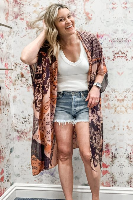 These are the Goldilocks of cutoffs. Not to short not too long. They are just right. Seriously, I cannot say enough about them. This gorgeous wrap and Michael stars tank are effortless. But again, buy these shorts and thank me later. http://liketk.it/3eOTL #liketkit @liketoknow.it Follow me on the LIKEtoKNOW.it shopping app to get the product details for this look and others @evereveofficial