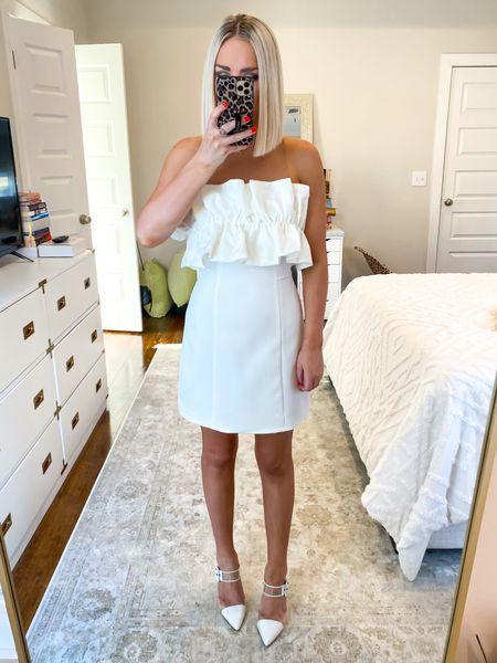 White ruffle dress! Size: SM MORE colors available.. wedding style, bridal dress, rehearsal dinner, bridal shower, white dress, wedding, bride   #LTKSeasonal #LTKwedding #LTKHoliday