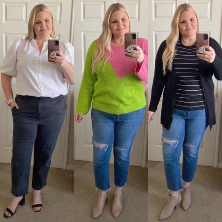 Target fashion finds! Puff sleeve blouse, stretchy work pants, sandal heels, neon sweater, mules/clogs, striped tee shirt, black cardigan, neutral booties.   #LTKunder50 #LTKshoecrush #LTKcurves