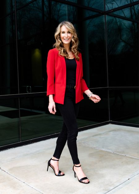 Simple classic red blazer paired with skinny jeans and heels    #LTKstyletip #LTKsalealert #LTKunder50