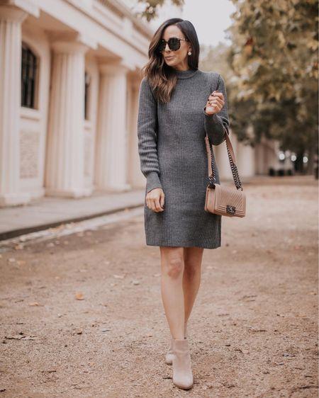 sweater dress, gray sweater dress, fall outfit, fall look, booties   sweater dress currently up to 25% off (runs tts)  #LTKsalealert #LTKSeasonal #LTKunder100
