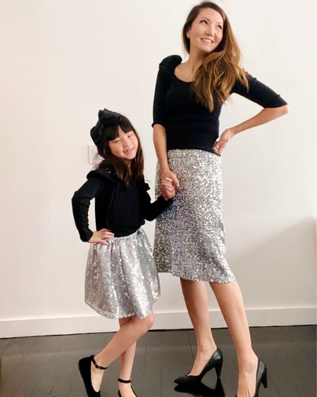 Keep calm and sparkle on  Despite the current coronavirus self quarantine mode, we've decided to press forward with our usual fashion features. Cuz fashion is fun and anything that brightens a long day at home, no matter how small is worth it.   Every Monday if you didn't know, we have started showcasing #mommyandme #matchingoutfits through stories. And if you check them now you'll see us adding a new dance component to them! Lol  If you wanna join us every Monday with your own #mommyandme dance-a-thon, we would love it!! Tag us and we will repost in stories! It's like movement class at home but #makeitfashion haha  For more swipeable, shoppable links see our highlights reel titled #mommyandme where past outfits have been saved for you. This sequin skirt duo is surprisingly versatile! Follow me @liketoknow.it and for all the similar skirt options! Download the LIKEtoKNOW.it shopping app to shop this pic via screenshot  .  #liketkit #liketoknowitfamily http://liketk.it/2LFbz #LTKfamily #LTKkids @liketoknow.it.family #mommyandmefashion #matchingoutfits #twinningiswinning #twin #copyandpaste