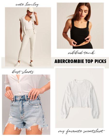 Abercrombie SALE: Favorite crop grey sweatshirt, ribbed sweater tank, denim high waisted shorts, henley. #abercrombie #henley #sweatertank #cropsweatshirt #springtrends  #LTKSeasonal #LTKSpringSale #LTKunder50