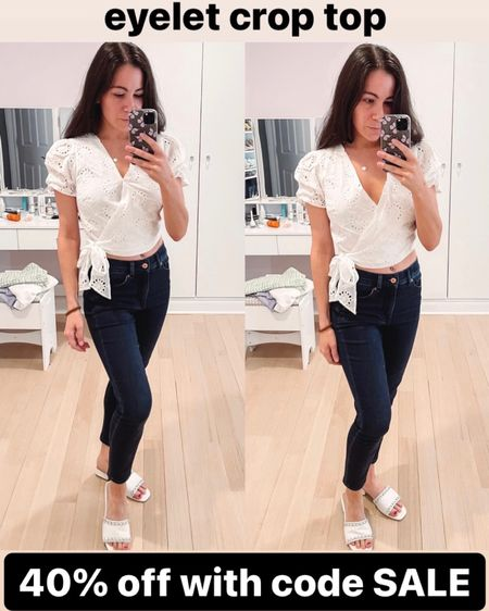I love this pretty white top and it's under $30 with code SALE. Paired with cropped high waisted jeans and white chain sandals. You could also pair the top with dress pants, dressy shorts or a skirt. This would be so cute for brides as an alternative to a white dress at an engagement party, rehearsal dinner, bachelorette dinner, or honeymoon vacation!   #LTKunder50 #LTKwedding #LTKtravel