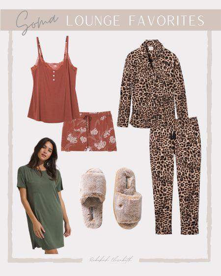 Soma Loungewear favorites   olive green night shirt • leopard pajama set • lace trim sleep cami + shorts • slippers #rebekahelizstyle   #LTKstyletip #LTKunder50 #LTKcurves