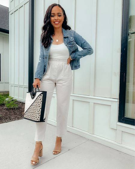 One of my favorite looks this summer has been styling linen pants, a white cropped tank and denim jacket! Dressed up with nude heels here but also looks cute/casual with studded sandals! Screenshot this pic to get shoppable product details with the @liketoknow.it  shopping app: http://liketk.it/3hUc9 #liketkit #LTKunder100