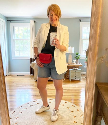 Blazer is Everlane (older) and belt bag is Madewell (look on Poshmark!)  Shorts and top TTS  Sneakers are TTS in grey/black