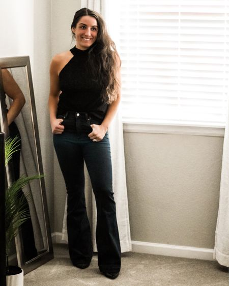 Happy Hump Day!!🖤 My flare leg jeans are currently on sale for only $60.🙌🏽 They have lots of stretch and are so flattering!✨ My lace halter top is also now only $20 and has the most gorgeous detailing.😍 Hope y'all had a fantastic March!☺️  You can instantly shop my looks by following me on the LIKEtoKNOW.it shopping app  http://liketk.it/3bP4i @liketoknow.it #liketkit #LTKsalealert #LTKunder100 #LTKstyletip