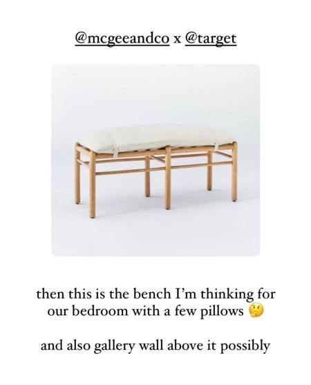 bedroom neutral wood bench with upholstery + cushion - home decor from target, target finds, beachy boho, minimal house style   #LTKSeasonal #LTKDay #LTKhome