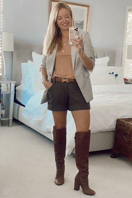 Fall transition outfit. Over the knee boots. T-shirt. Shorts and blazer.  #LTKSeasonal #LTKstyletip