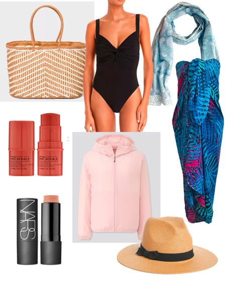 What to pack for a beach vacation: Beach Bag, Jacket, Swimsuit, Scarf, Pareo, Multi stick makeup, Lip Cheek and Eye Sticks and a Sunhat.   #LTKtravel #LTKSeasonal #LTKstyletip