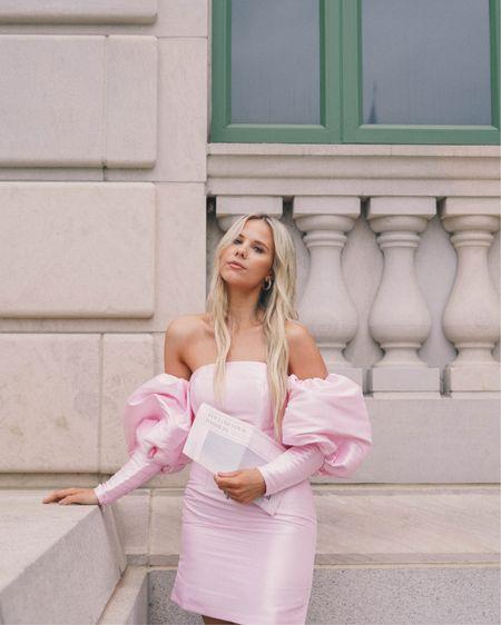Pink puff sleeve dress http://liketk.it/3bSbY #liketkit @liketoknow.it #LTKSpringSale #LTKsalealert #LTKwedding