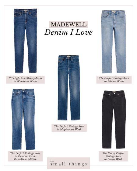 I'm loving this Madewell denim for fall! Black denim, straight-leg denim, blue jeans, distressed denim, perfect vintage, road tripper, skinny Jean, curvy perfect vintage, high rise  #LTKSeasonal #LTKfit #LTKstyletip