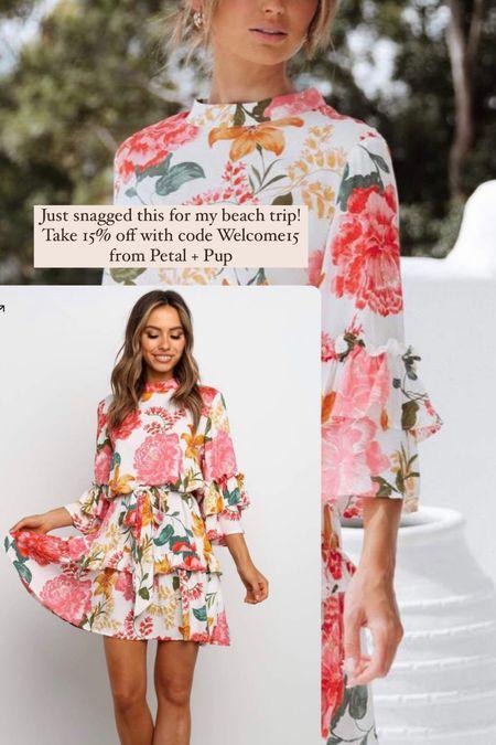 Petal & Pup Floral dress Pink Beach Wedding guest Mini dress Above knee  #LTKSeasonal #LTKstyletip #LTKunder100