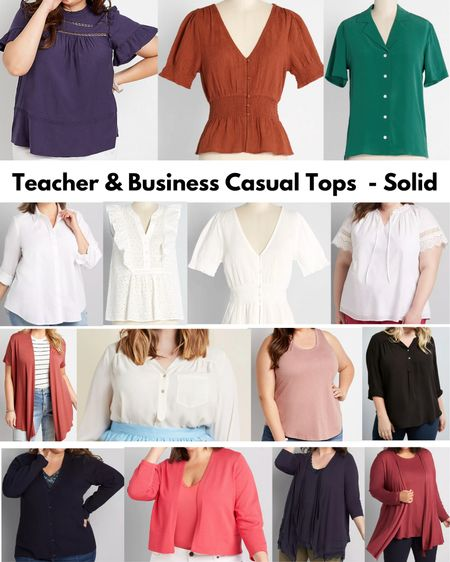 I'm doing requests from my Instagram. Here are my favorite solid color teacher/business casual tops! This only includes ModCloth, Lane Bryant & Maurices. So many cute options!  #LTKSeasonal #LTKcurves #LTKstyletip
