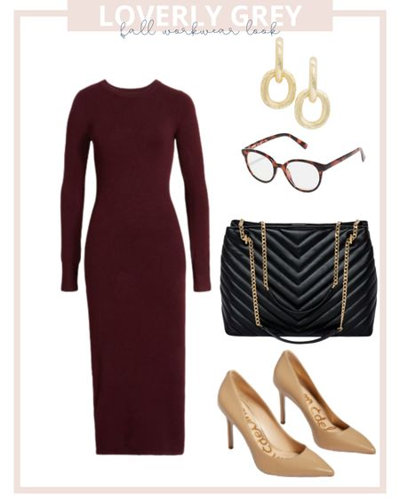 Loverly grey fall work wear look: pair a sweater dress with a quilted black handbags and neutral heels.   #LTKunder100 #LTKworkwear #LTKstyletip