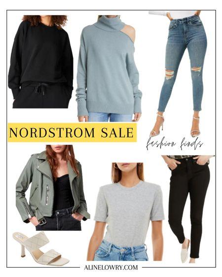 Nordstrom anniversary sale fashion picks!   Raundi cutout wool blend turtleneck sweater, essentials sweatshirt, elegant sandal, nude sandal, high waist skinny jeans, sleeve bodysuit, leather biker jacket   #LTKtravel #LTKstyletip #LTKsalealert