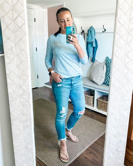 SPF beach shirt but I also love it with jeans!!  Flip flops, beach, summer, casual style    #LTKshoecrush #LTKunder100 #LTKSeasonal