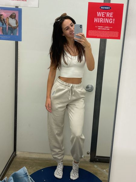 ON SALE! The comfiest cream colored joggers from old navy! Perfect neutral for fall - awesome for lounging or even dressing up!  #LTKfit #LTKSale #LTKtravel