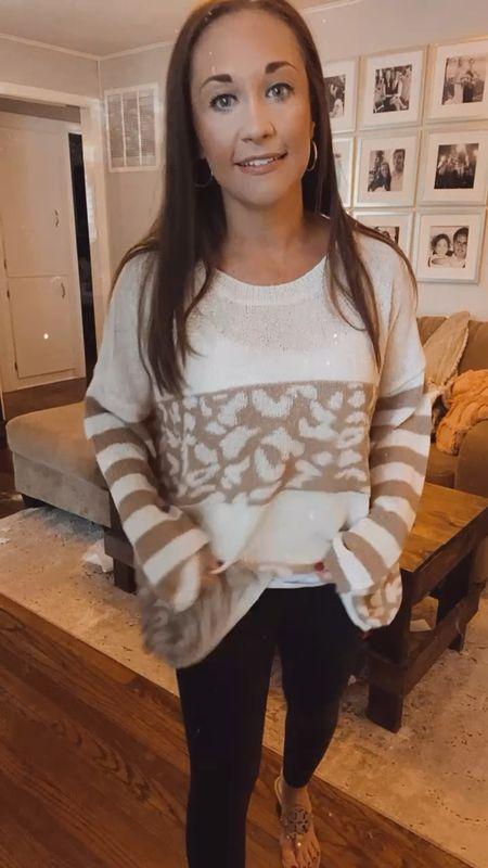 Leopard sweater wearing small   #LTKunder100 #LTKstyletip #LTKsalealert