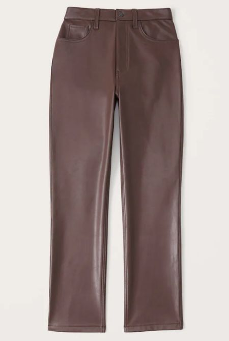 Abercrombie faux leather vegan pants! Restocked! TTS and super cute. This brown has a red undertone that is gorgeous!    #LTKsalealert #LTKunder100 #LTKSale