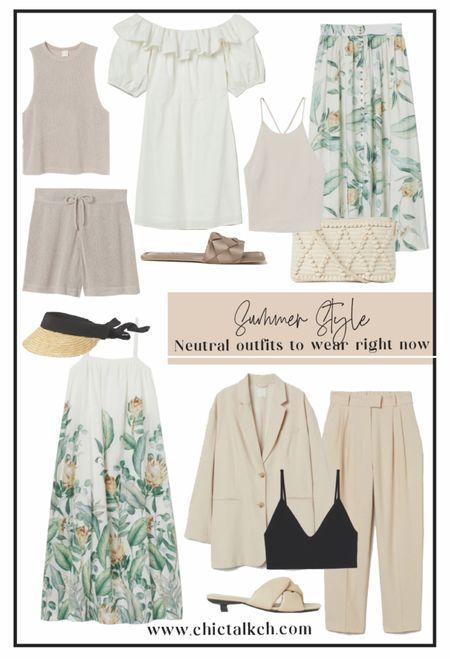 Prettiest neutral looks from H&M!🧡⚡️maxi dress, linen pants, linen shorts, matching sets, minimalist outfits, beach outfits, vacation looks  #LTKunder50 #LTKshoecrush #LTKtravel