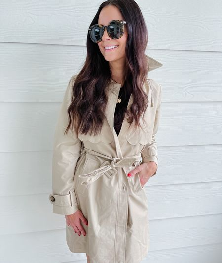 A trench coat with scalloped detail? Yes, please! Wearing size XS!