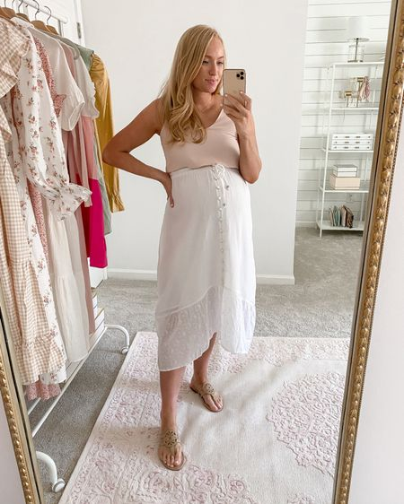 Such a cute summer find from Walmart! This white maxi dress is lined and I love the button detail down the front. I paired it with a blush tank (linked a similar option) with my Tory Burch look for less flats that will be on major sale the next few days! I recommend sizing up a half size    http://liketk.it/3i0a1 #liketkit @liketoknow.it  #walmartoutfit #walmartfinds #walmartfashion #LTKbump