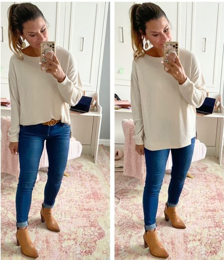 How a style a cream tunic — everything is true to size. Wearing a small in the tunic and belt. Wearing a 4 in the jeans. #justpostedblog   Tunic Jeans Evereve  Amazon   #LTKunder100 #LTKstyletip #LTKSeasonal