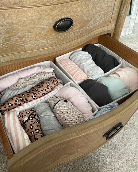 Finally got some organization together for my pajama drawer! I have comfy pants on the right then matching sets on the left organized by tops and bottoms http://liketk.it/3hxWr #liketkit @liketoknow.it #LTKhome  home organization// drawer organizer // amazon finds