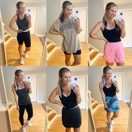 My favorite workout clothes/ favorite things to lounge around the house in! 1. These bike shorts and workout tank are both wal mart finds and both so affordable! 2. This oversized graphic tee with a pair of bike shorts is my favorite kind of outfit! 3. These pink shorts are my favorite thing to run in and this workout tank top is an amazon find! 4. This workout tank top is 25% off right now and these leggings are the most popular leggings in amazon!  5. I'm obsessed with a skirt and this grey one is only $7! This cropped workout top is an amazon find and I also have it in white! 6. How cute is this tie dye skort? It's a wal mart find and so affordable! Also linked my white sneakers, they are the most comfy shoes!  #LTKsalealert #LTKshoecrush #LTKfit