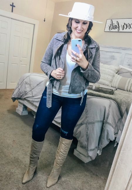 Fall jacket and boots! These boots are a must have for your fall wardrobe! 😍   #fallboots #boots #hat #jacket #motojacket #fallvibes #falloutfit #fallstyle #fallfashion #jeans #Nordstrom #Amazon   #LTKstyletip #LTKSeasonal #LTKshoecrush